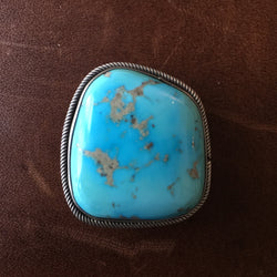 Handmade Sleeping Beauty Turquoise Sterling Denim Brown Metal Tack Button