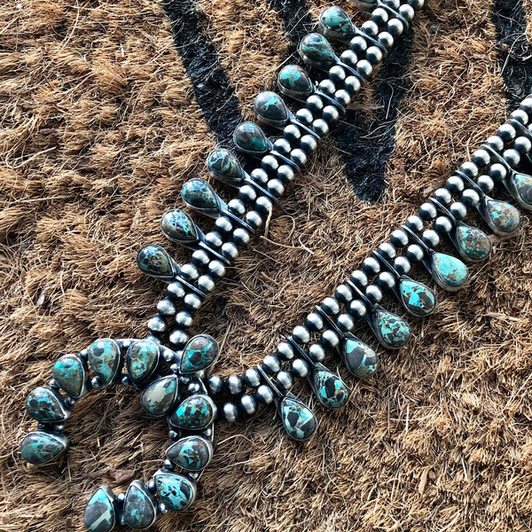 Carico Lake Turquoise Mini Squash Blossom Necklace Double Oxidized Signed