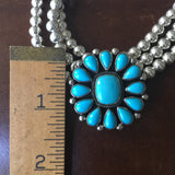 Flower Sleeping Beauty Turquoise Necklace choker Triple Beads Signed Navajo