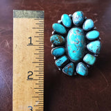 Large Handmade Sterling Carico Lake Turquoise Long Flower Statement Ring Size 9
