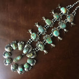 Large Handmade Carico Lake Squash Blossom Naja Necklace Signed B