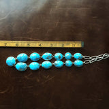 Handmade Sterling Silver 13 Stoned Kingman Turquoise Adjustable Necklace