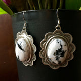 Handmade Stamped Sterling White Buffalo Earrings Signed Randall Endito