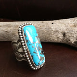 Beautiful Natural Blue Persian Turquoise with Pyrite Long Rectangle Ring Size 7