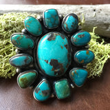 Handmade SterlingDeep Blue Green Carico Lake Flower Statement Ring Size 9