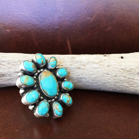 Simple Sterling Silver Light Blue Royston Turquoise Small Flower Ring Size 6