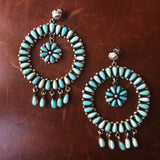 Huge Hoop Circle Campitos Turquoise Statement Earrings Flower Cluster Signed