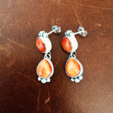 Small Two Stoned Sterling Silver Orange Spiny Oyster Earrings Popping Color