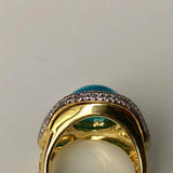 Eye of the Ocean 18K Gold Mini Diamond and Natural Sleeping Beauty Ring Size 6