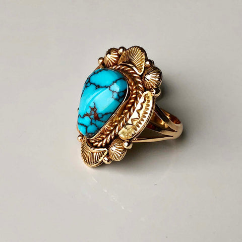 Blue Canyon Egyptian Turquoise 14K Gold Ring Handmade Ray Bennett Signed Sz 7.5