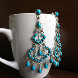 Hearts of the Ocean Sleeping Beauty Turquoise Earrrings Signed Carlos Santa Fe