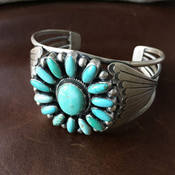 Handmade Sea Bluegreen Carico Lake Turquoise Flower Bracelet Cuff