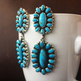 Kingman Long Earrings Cluster Flower Merenci Turquoise with Pyrite Signed