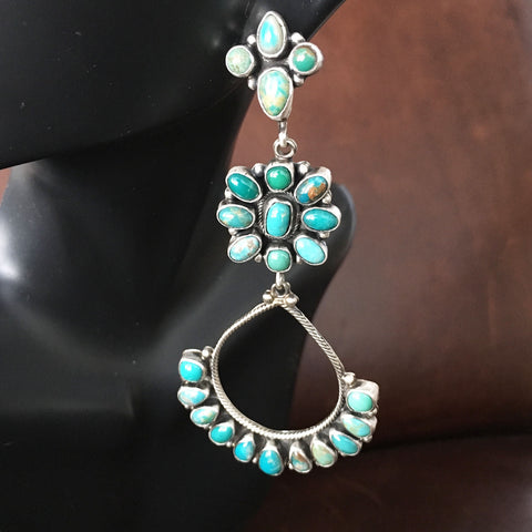 Long Dangle Sterling Cluster Carico Lake Turquoise Earrings Handmade Signed
