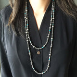 Navajo 60 Inch Necklace Chain with Varied Size Navajo and Turquoise Beads