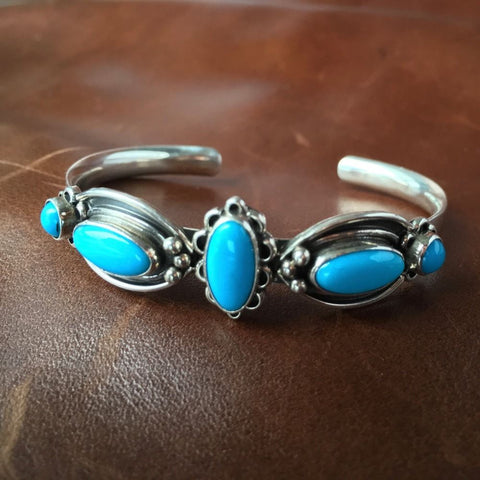 Sterling Natural Sleeping Beauty Turquoise Cuff Bangel Bracelet Navajo Signed US