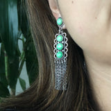 Dancing Pebbles Carico Lake Turquoise Waterfall Earrings Signed Carlos Santa Fe