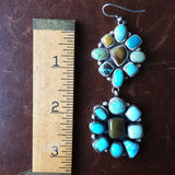 Beautiful Handmade Carico Lake Turquoise Medium Cluster Two-Flower Earrings