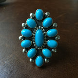 Handmade Sterling Sleeping Beauty Turquoise Flower Cluster Ring Size 6
