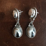 Beautiful Handmade Sterling Silver Two-Stone Small Oval White Buffalo Earrings