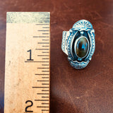 Classy Handmade Stamped Sterling Silver Single Stoned Royston Turquoise Size 8