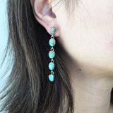Long Dangle Handmade Number 8 Turquoise Sterling Silver Dangle Earrings