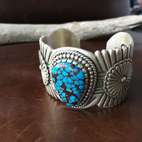 Large Single Egyptian Turquoise Stamped Sterling Silver Bracelet Cuff