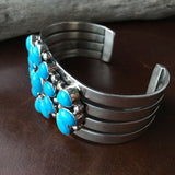 Beautiful Sterling Silver Natural Sleeping Beauty Turquoise Flower Bracelet Cuff