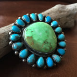 Natural Carico Lake Turquoise Statement Ring with Ithaca Peak Mini Stones Size 7
