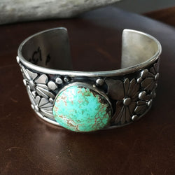 Natural Carico Lake Turquoise Sterling Silver Flower Overlay Bracelet Cuff