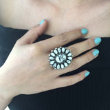 Cluster Beautiful Handmade Sterling Silver White Buffalo Flower Ring Size 6