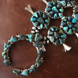Vintage Carico Lake Turquoise Cluster Squash Blossom Oxidized Necklace Set