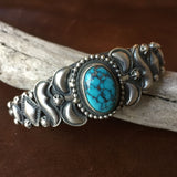 Navajo Handmade Sterling Silver Blue Moon Turquoise Bracelet Signed Danny Clark