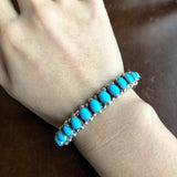 Blue Fairytale Sleeping Beauty Turquoise Bracelet Bangle Signed Leo Feeney