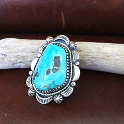 Beautiful Large Handmade Sterling Silver Deep Blue Moon Turquoise Ring Size 7