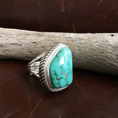 Beautiful Handmade Simple Sterling Silver Pilot Mountain Turquoise Ring Size 8