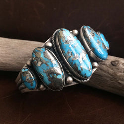 Classic Handmade Sterling Silver 5-Stone Persian with Pyrite Turquoise Bracelet