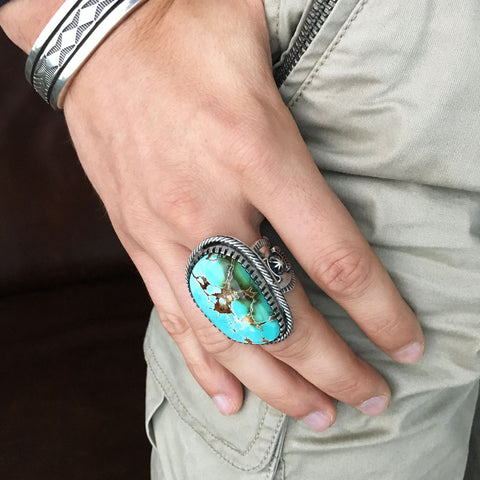 For Men Large Royston Turquoise Stamped Sterling Silver Ring Size 12
