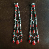 Beautiful Handmade Mini Clustered 26 Carat Red Coral Extra Long Dangle Earrings