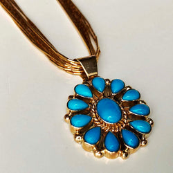 Robins Blue Firework 14K Liquid Gold Sleeping Beauty Necklace Adjustable Size