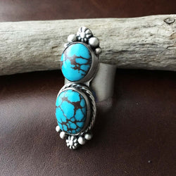 Beautiful Two Stoned Egyptian Turquoise Sterling Silver Ring Size 7