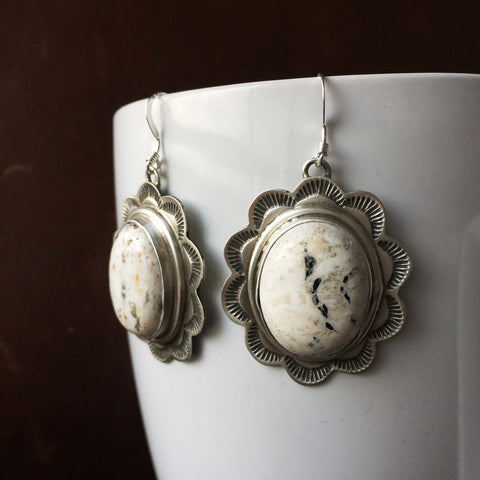 Beautiful Handmade Sterling Silver Stamped Oval White Buffalo Earrings