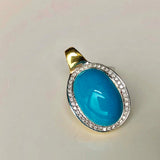 Eye of the Ocean 18K Gold Mini Diamond and Natural Sleeping Beauty Pendant Only