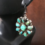 Multicolor Sterling Cluster Carico Lake Turquoise Earrings Handmade Signed
