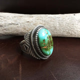 For Men Handmade Sterling Silver Small Oval Royston Turquoise Ring Size 9
