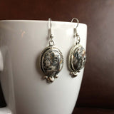 Handmade Sterling Silver Medium Oval White Buffalo Earrings Variation 2