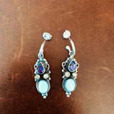 Classy Sleeping Beauty Turquoise with Green and Purple Topaz Earrings