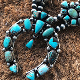Double Oxidized Sterling Navajo Pearl Carico Lake Squash Blossom Necklace Signed