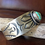 Silver Stamp Handmade Carico Lake Turquoise Bracelet Signed by Paul Livingston