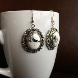 Beautiful Handmade Sterling Silver White Buffalo Oval Earrings Variation 2